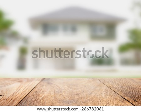 wood floor and home blured background , home concept - stock photo