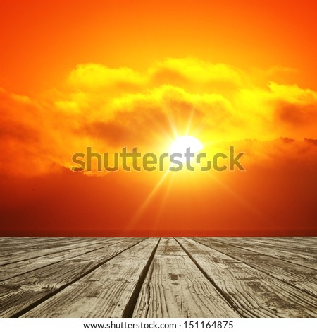 wood floor and shining sun background - stock photo