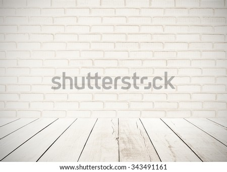 Wood Floor And White Brick Wall Interiors Background Gray Cementconcrete Texture Painted Outdoor