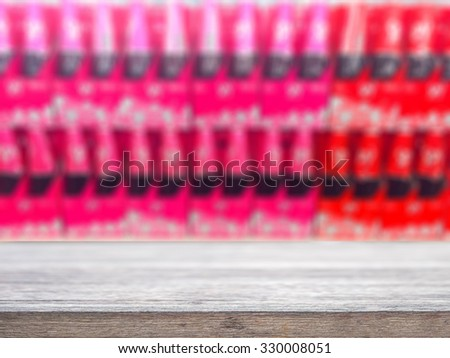 Wood floor and wine Liquor bottle on shelf - Blurred background - can montage or display your products - stock photo