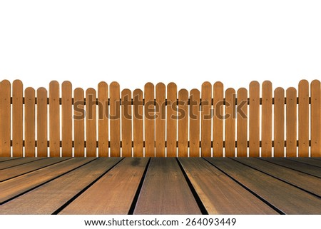 wood floor and wooden fence isolated on white background - stock photo