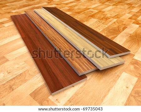 Wood floor. 3D illustration - stock photo