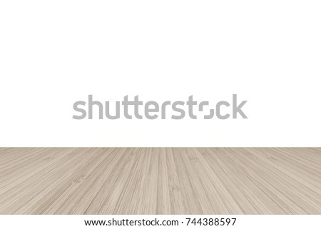 light wood floor perspective. Wood Floor Perspective View With Wooden Texture In Light Sepia Brown Color Isolated On White Wall