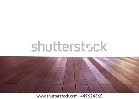 Wood floor texture in light color tone isolated on white background. nature good Perspective warm wooden floor texture. Empty room with wall and wooden floor. Art Wood Design Element Painted 14 - stock photo