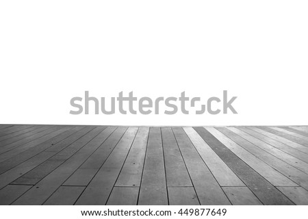 Wood floor texture in light color tone isolated on white background. nature good Perspective warm wooden floor texture. Empty room with wall and wooden floor. Art Wood Design Element Painte isolated - stock photo