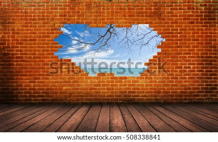 Wood Floor With Red Brick Wall Hole Background