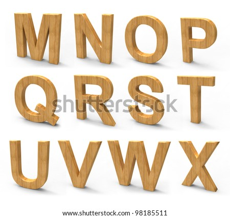 wood font isolated on white background. - stock photo