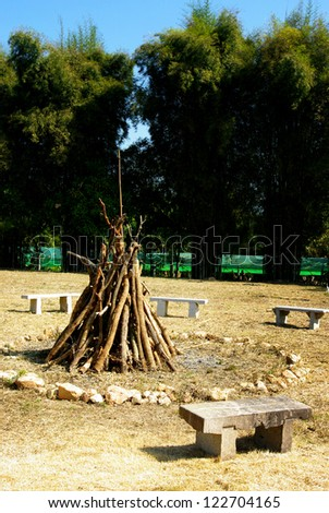 Wood for bonfire, Camping concept