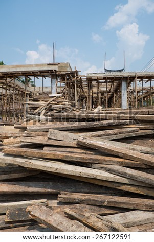 Wood for Building a new house Thailand - stock photo