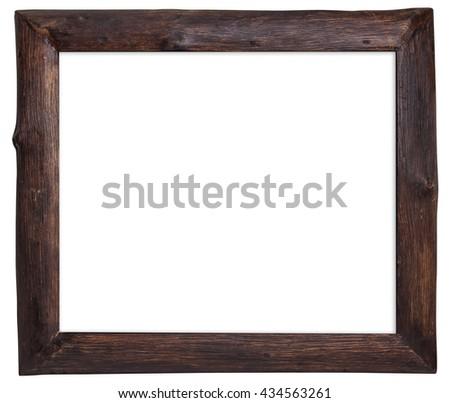 Wood frame isolated on white background. - stock photo