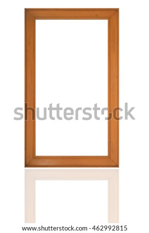 wood frame with copy space and white background.