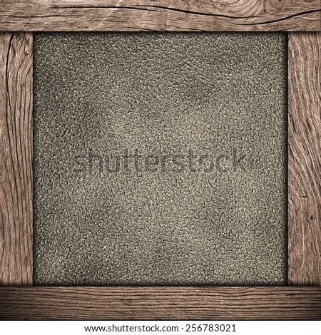 wood frame with old paper - stock photo