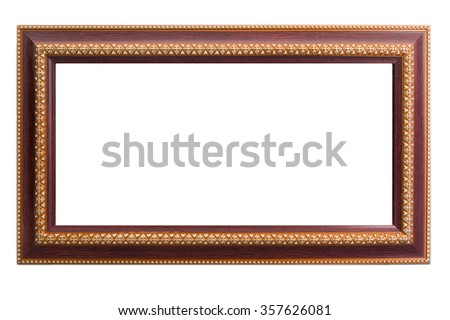 wood frame with thai art gold painting art design - stock photo
