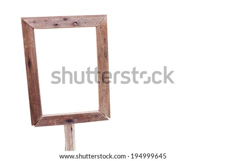 Wood frame with white background
