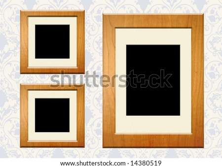 Wood frames on antique wallpaper with copy space