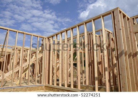 Wood framing for a new home under construction