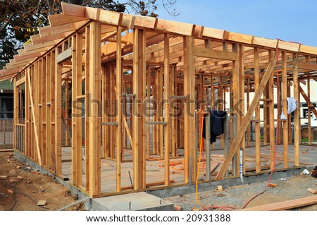 Wood framing on a new residential construction project