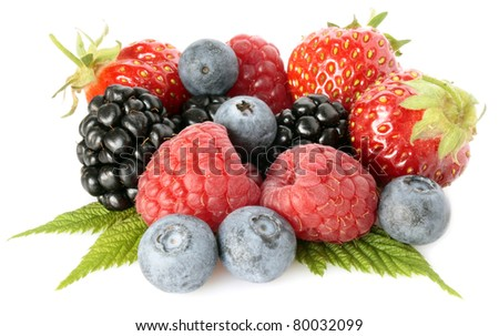 Wood fresh berries isolated with green leaves - stock photo