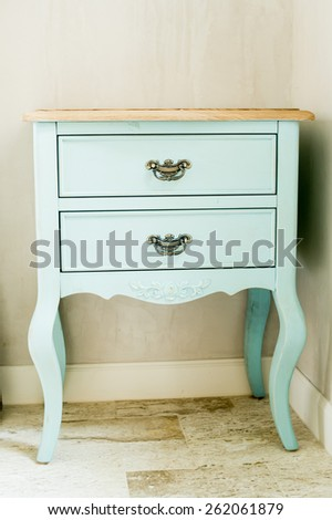 Wood furniture,detail shot of vintage chest of drawers,detail shot of vintage chest of drawers  - stock photo