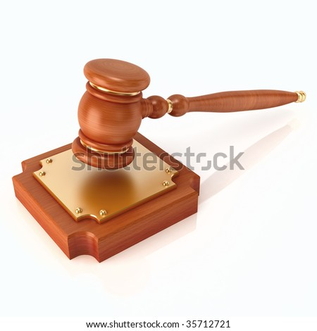 Wood gavel (3d render) - stock photo