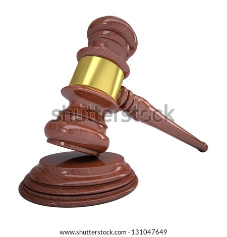 Wood gavel. Isolated render on a white background