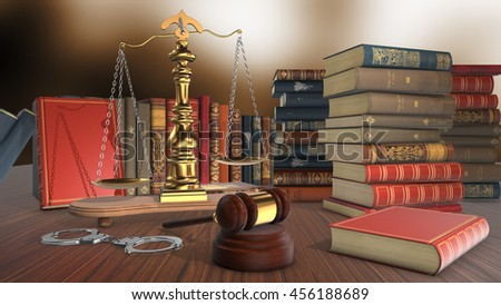 Wood gavel, law,justice and stack of old books against the background. 3D Render - stock photo