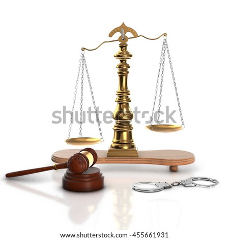 Wood gavel, soundblock, scales and stack of old books against the background of a row of antique books bound in leather, 3d render. - stock photo