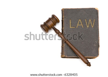 wood gavel with law book on white background, space for messages - stock photo