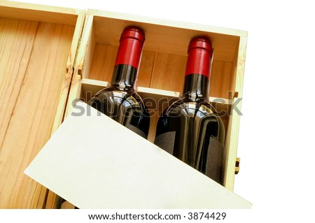 Wood gift box with two wine bottles and blank card (horizontal) isolated - stock photo