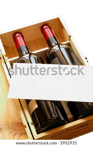 Wood gift box with two wine bottles and blank card (vertical) isolated - stock photo