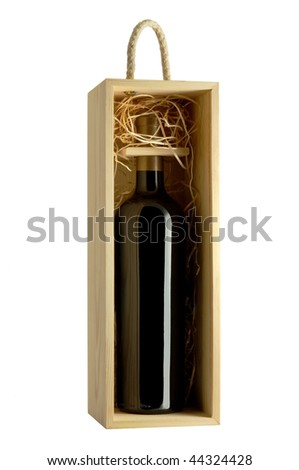 Wood gift box with wine bottle isolated on white - stock photo