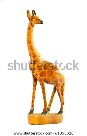 Wood Giraffes on white background - stock photo