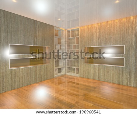 Wood Gold book Shelf on Corner in empty room with wooden floor - stock photo