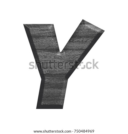 Wood grain textured uppercase or capital letter Y in a 3D illustration with a dark black and white silver gray color wooden texture basic bold font isolated on a white background with clipping path.