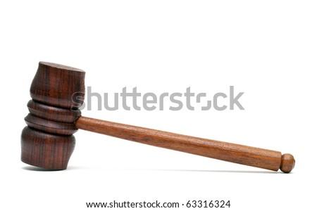 Wood hammer isolated on white - stock photo