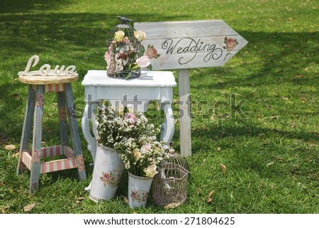 Wood Hand Made Welcome Wedding Decoration - stock photo