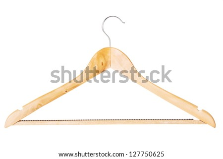 Wood hanger on the white background.
