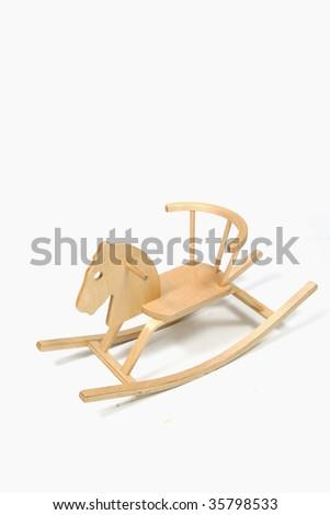 wood horse isolated on white - stock photo