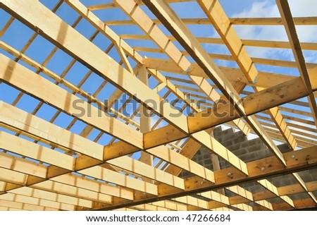 wood house Skeleton - stock photo
