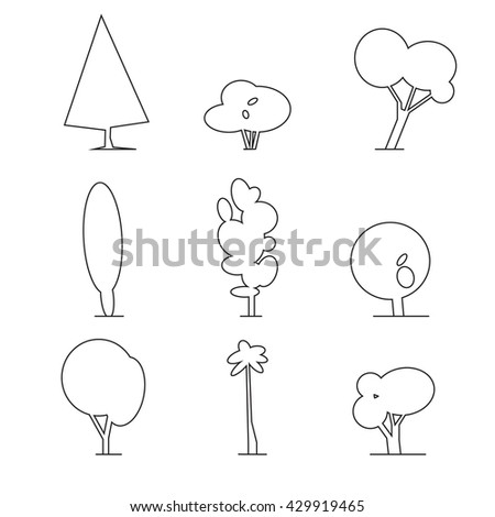 Wood icons set outline. Trees icons set, outdoor design collection. Isolated tree, trunk, foliage   - stock photo