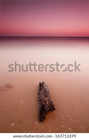 Wood in Matalasca���±as beach in Lanzarote, Canary Islands, Spain - stock photo
