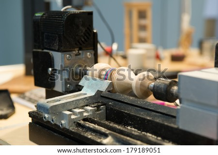 wood lathe  - stock photo