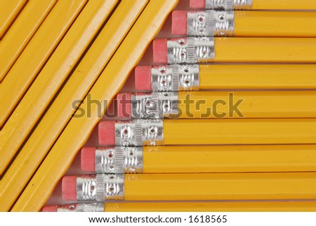 Wood Lead Pencils #2 Eraser Yellow - stock photo
