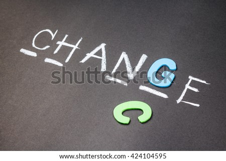 Wood letters fill in a guess word game for Chance and Change concept - stock photo
