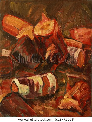 wood logs. Birch. oil painting