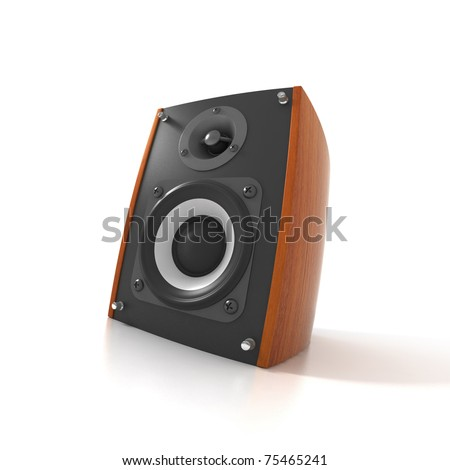 Wood Loud Speaker Isolated on White. Fish eye view - stock photo
