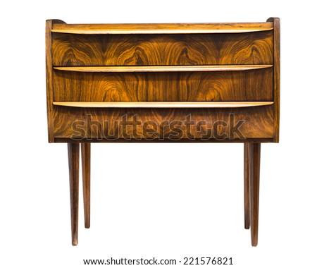 Wood mahogany end table - stock photo