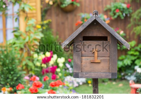 Wood Mail box in the garden - stock photo