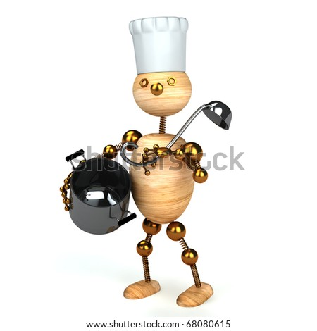 wood man cook 3d rendered - stock photo
