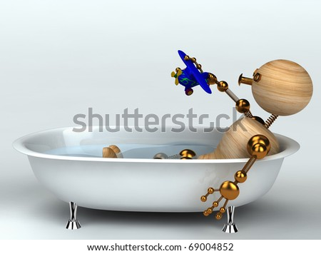 wood man with old bath 3d rendered - stock photo